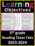5th Grade Texas TEKS Reading/ Writing Learning Objectives