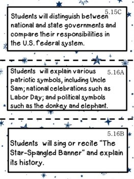 5th Grade Texas TEKS Social Studies Learning Objectives Cards