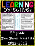 5th Grade Texas TEKS Social Studies Learning Objectives Cards | Color & B&W