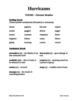 5th Grade Texas Treasures Spelling & Vocabulary Lists