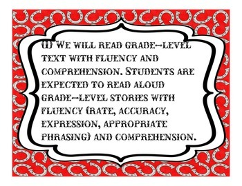 5th Grade; We Will... TEKS; Language Arts; western themed with horseshoes