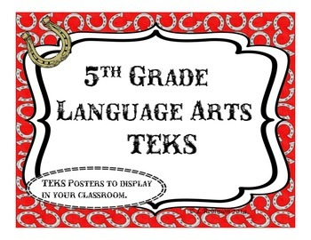 5th Grade; We Will... TEKS; Language Arts; western themed