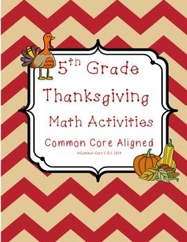 5th Grade Thanksgiving Math Activities