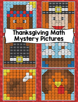 5th Grade Thanksgiving Math Mystery Pictures: Math Color By Number Activities