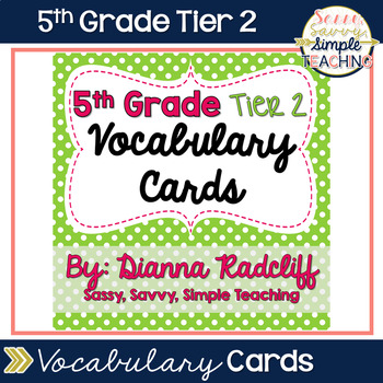5th Grade Tier 2 Vocabulary Cards