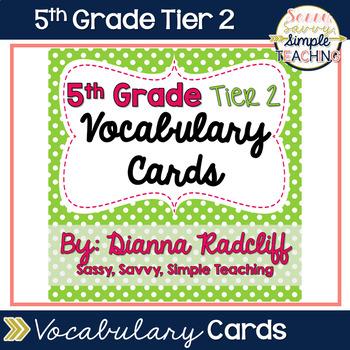 5th Grade Tier 2 Vocabulary Cards