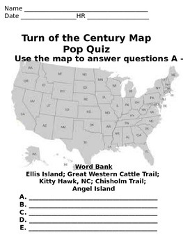 5th Grade Turn of the Century Map Pop Quiz