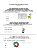 5th Grade- Twas the Night Before Christmas- Math Activity