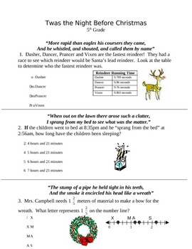 Christmas Math Worksheets For 5th Grade  christmas math literacy