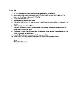 5th Grade U.S. History: Exploration Quiz
