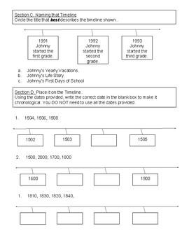 5th Grade Unit 1 timeline Pre-assessment
