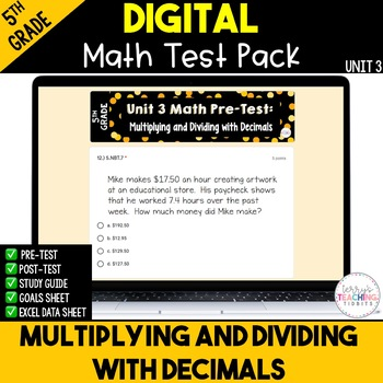 5th Grade Unit 3 Math Test Pack {Paperless}