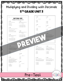 5th Grade Unit 3 Math Test Pack {Paper and Pencil}