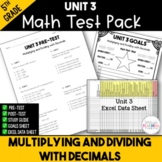 Multiplying and Dividing Decimals Printable Test Pack {5th Grade Unit 3}
