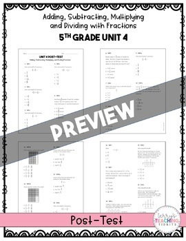 5th Grade Unit 4 Math Test Pack {Paper and Pencil}
