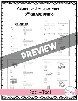 5th Grade Unit 6 Math Test Pack {Paper and Pencil}
