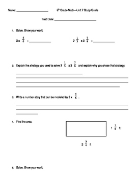 5th Grade Unit 7 Study Guide for Everyday Math 4