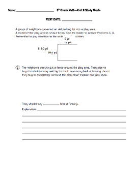 5th Grade Unit 8 Study Guide for Everyday Math 4