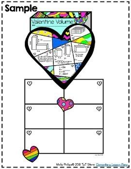 5th Grade Valentine's Day Math: Volume: Valentine's Math Coloring Activity