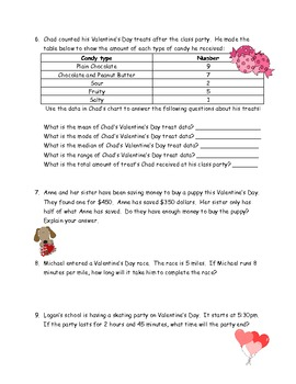 5th grade valentine 39 s day math word problems with answer key by cindy marie. Black Bedroom Furniture Sets. Home Design Ideas