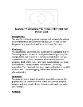 5th Grade Vascular/Non-vascular Design Brief STEM