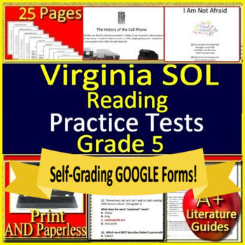 5th Grade Virginia SOL Reading Test Prep Practice TEI Grade 5 VA SOL