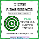 """5th Grade Virginia SOLs """"I Can"""" Statements for Math"""
