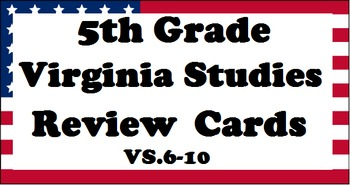 5th Grade Virginia Studies SOL Review Cards (3 sets!) - Updated 2016 SOL's