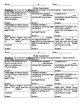 5th Grade Virginia Studies VS.9ab People Search Activity Worksheet and KEY