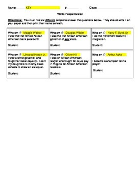 5th Grade Virginia Studies VS.9c People Search Activity Worksheet and KEY