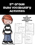 5th Grade Build Vocabulary for Mc-Graw Hill Wonders Reading Series--Unit 1