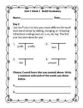 5th Grade Build Vocabulary for Mc-Graw Hill Wonders Reading Series--Unit 1
