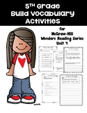 5th Grade Vocabulary Activities for McGraw-Hill Wonders Reading Series Unit 4