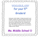 5th Grade Vocabulary Cards