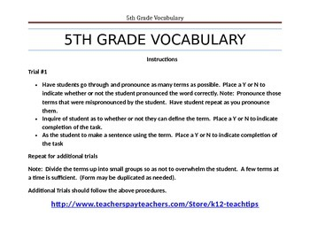 5th Grade Vocabulary (>200) Sight Words