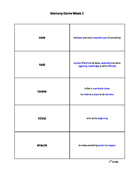 5th Grade Vocabulary for Success: Memory Game