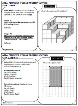 5th Grade Volume, Area & Perimeter, 30 Enrichment Projects and 30 Problems