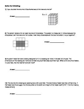 5th Grade Volume Assessment