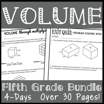 5th Grade Volume Bundle, 4 Lesson Packets + Quizzes, Over 30 pages!