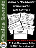 5th Grade Volume & Measurement Choice Boards (homework, small group)