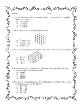 5th Grade Volume Practice Worksheet