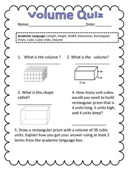 5th Grade Volume Quiz CCSS ... by Veronica Orabuena | Teachers Pay ...