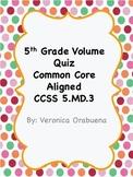 5th Grade Volume Quiz CCSS 5.MD.3