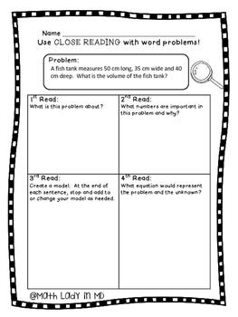 5th Grade Volume Word Problems - Close Reading!