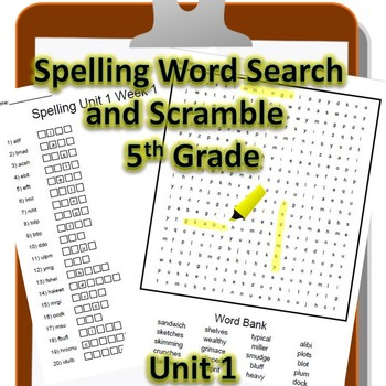 5th Grade WONDERS Spelling Word Search and Scramble -- Unit 1 (Differentiated)