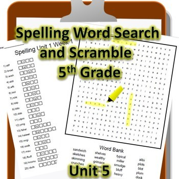 5th Grade WONDERS Spelling Word Search and Scramble -- Unit 5 (Differentiated)