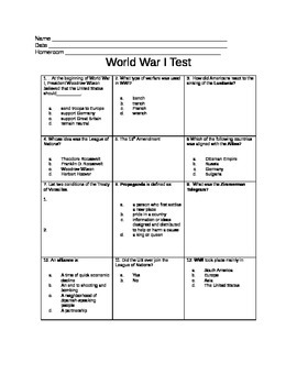 5th Grade WWI Test
