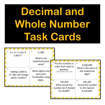 Fifth Grade  Place Value Task Cards