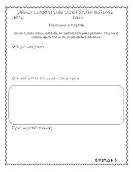 5th Grade Weekly Constructed Response Word Problem SAMPLE