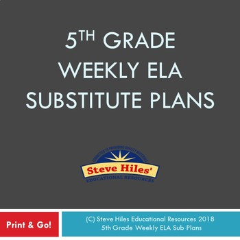 5th Grade Weekly ELA Substitute Plans